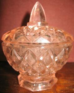 Vintage Pink BOYD art glass covered candy dish coffee sugar jar cracker diamond