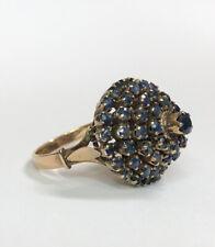 Antique 14k Yellow Gold Blue Sapphire Princess Thai Harem Dome Ring - Size 8