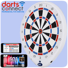 Darts Connect Ultimate Online Dartboard Built In Camera play via Wi-Fi In White