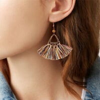 Vintage Women Bohemian Long Tassel Earrings Boho Hook Drop Dangle Fringe Jewelry