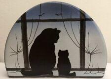 R&H BOUGHTON POTTERY CAT KITTEN SILHOUETTE WINDOW LETTER RACK HOLDER BLUE OMBRE