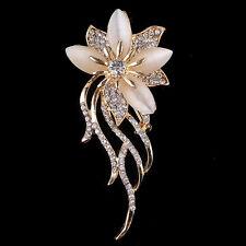 Rose Gold Rhinestone Brooch Crystal Flower Wedding Bridal Bouquet Pin Women Prom
