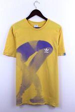 Vtg Adidas Men Yellow T-shirt Retro Jersey Shirt Hemd Camisa Trefoil Size L
