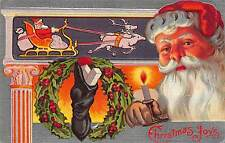 Christmas Postcard Santa Claus, Holly Wreath, Stocking, Candle, Sleigh~108967
