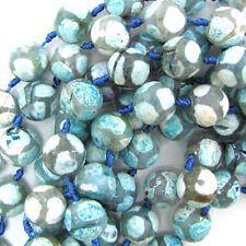 """14mm faceted agate round beads 13"""" strand  light blue white"""