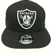 on sale 21332 0dc55 New Era 9Fifty Snapback Hat Mens NFL Oakland Raiders All Black White Logo