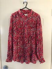 WITCHERY Size 12 Red Patterened 100% Silk Long Sleeve Button Down Blouse Top