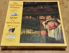 Railroad Jigsaw Puzzle 500 Piece SunsOut Train Shop Window 32196 Bob Byerley New