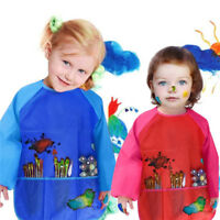 Kids Play Apron Art Craft Messy Painting Drawing Cover Waterproof Long Sleeve