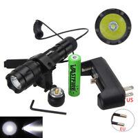 Tacticl 5000LM  XML T6 LED Flashlight Hunting Torch Lamp Rifle Gun Mount Light