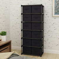 12 Drawers Storage Shelf Unit  with 12 Removable Non-woven Fabric Bins in Black