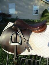 """16"""" Medium CROSBY CC English Saddle w Leathers & stubben irons"""