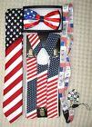 US Flag American Flag Suspenders,Lanyard,Tie &US Patriotic Flag Adj. Bow Tie-v10