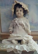 "Antique Large Old Baby Doll, 21"" Old Cream Color Dress, Cream Color Top, Socks"