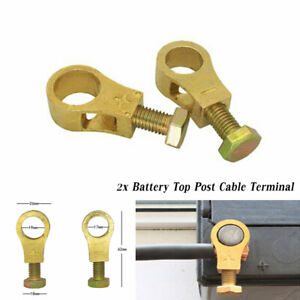 A Pair Pure Brass Heavy Duty Battery Top Post Cable Terminal Wire Terminals