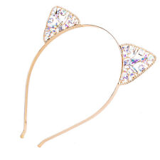 Cute Womens Cat Ears Faux crystal Rhinestones Alloy Headband Hair Band Hair hoop