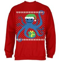 Ugly Christmas Sweater Octopus Red Adult Sweatshirt