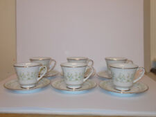 6 x Noritake China Cups and Saucers Savannah 2031 Floral Platinum Guild Lovely
