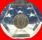 """1972-D EISENHOWER DOLLAR """"I LIKE IKE"""" hexagon Paperweight ** shipping included *"""