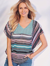 Kaleidoscope Size 12 Dropped Shoulder Placement Print TOP Holiday Occasion Fab