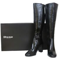 RRP - £150 Dune Womens Ladies Real Patent Leather Long Black Knee High Zip Boot