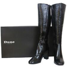 RRP - £150 Dune Womens Ladies Real Patent Leather Long Black Knee High Zip Boot