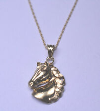 14K YELLOW GOLD HORSE HEAD PENDANT ON 16.25 INCH ROPE CHAIN NECKLACE