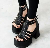 New Womens  Platform Strap Buckle Open Toe Shoes Gladiator Sandals Chunky Heels
