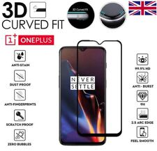 For OnePlus 6T Full Cover 3D Curved Tempered Glass 9H Screen Protector Black