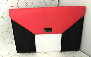 ATMOSPHERE Clutch Bag Coral Black Envelope Large Women's Party Geometric NEW-F91
