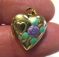 ANTIQUE GOLD FILLED HEART LOCKET ENAMEL FLOWER 12 X 15 MM 1.1 GRAMS