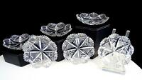 "ABP AMERICAN BRILLIANT CUT CRYSTAL FAN CROSSHATCH 6PC 3 1/8"" BUTTER PATS 1890-"