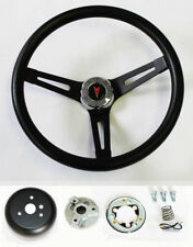 GTO Firebird Lemans Tempest Bonneville Black on Black Steering Wheel 13 1/2""