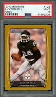 2013 bowman gold #123 Le'VEON BELL pittsburgh steelers rookie card (POP 1) PSA 9