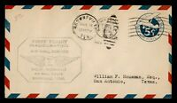 DR WHO 1929 FIRST FLIGHT BROWNSVILLE TX STATIONERY TO SAN ANTONIO 182798
