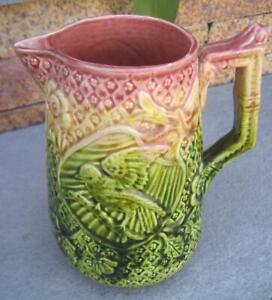 """Vintage Majolica Pink and Green Floral Bird Fan 6.75"""" Pitcher"""