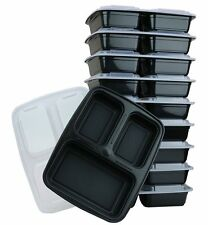 10 Food Containers Plastic Food Storage Lid Reusable Microwavable 3 Compartment