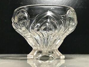 VINTAGE ART NOUVEAU STYLE DECORATED FOUR-FOOTED GLASS FRUIT BOWL