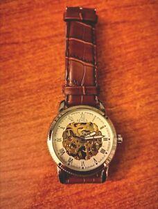 Sewor Watch Automatic Skeletonized Swiss Mechanism Brown Gold