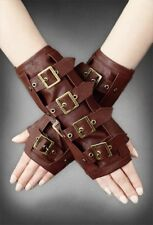 RESTYLE Gothic/ Steampunk Punk Metal Long Arm-warmers w/ Buckles GLOVES : Brown