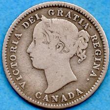 Canada 1874 H 10 Cents Ten Cent Silver Coin - VG