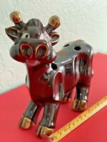 Brown Cow Pencil Holder Gold Trimmed Farm Style Vintage Tilso Japan MCM Cute