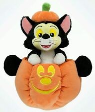 """Disney Parks 9"""" Figaro Cat in Halloween Mickey Pumpkin Plush Toy New with Tags"""