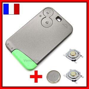 Coque Clé Plip Carte Compatible Laguna Vel 2 Boutons +2 Switch+Lame+Pile