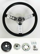 "NEW! 1965-1969 Mustang Black Steering Wheel Grant 13 1/2"" with chrome spokes"