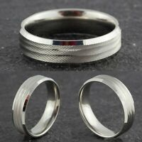 6mm Stainless Steel Mens Womens Wedding band - New Silver Comfort Ring M to X