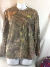 Nice Youth Size XL MOSSY OAK Long Sleeve CAMO Shirt with Neon Green Lettering
