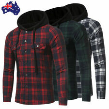 AU Stock Men's Make Casual Plaid Hooded Checked Flannel Shirt Slim Tops Blouses