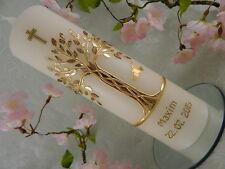 Taufkerze Kerze zur Taufe Baum gold edel Taufkerzen Junge Mädchen mit Name