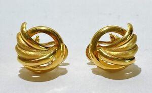 Pair Italian solid 14kt Yellow Gold Hoop Scroll Fan Earrings.